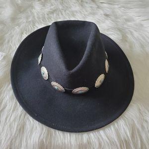 Vintage Black WoolFelt Southwestern BohoGrunge Hat